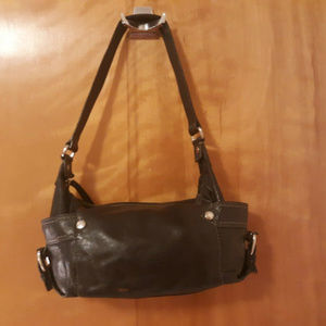 "FOSSIL BLACK LEATHER SHOULDER BAG - ""VERY NICE"""